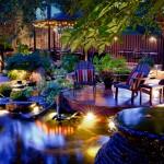 Backyard Watergarden at Night