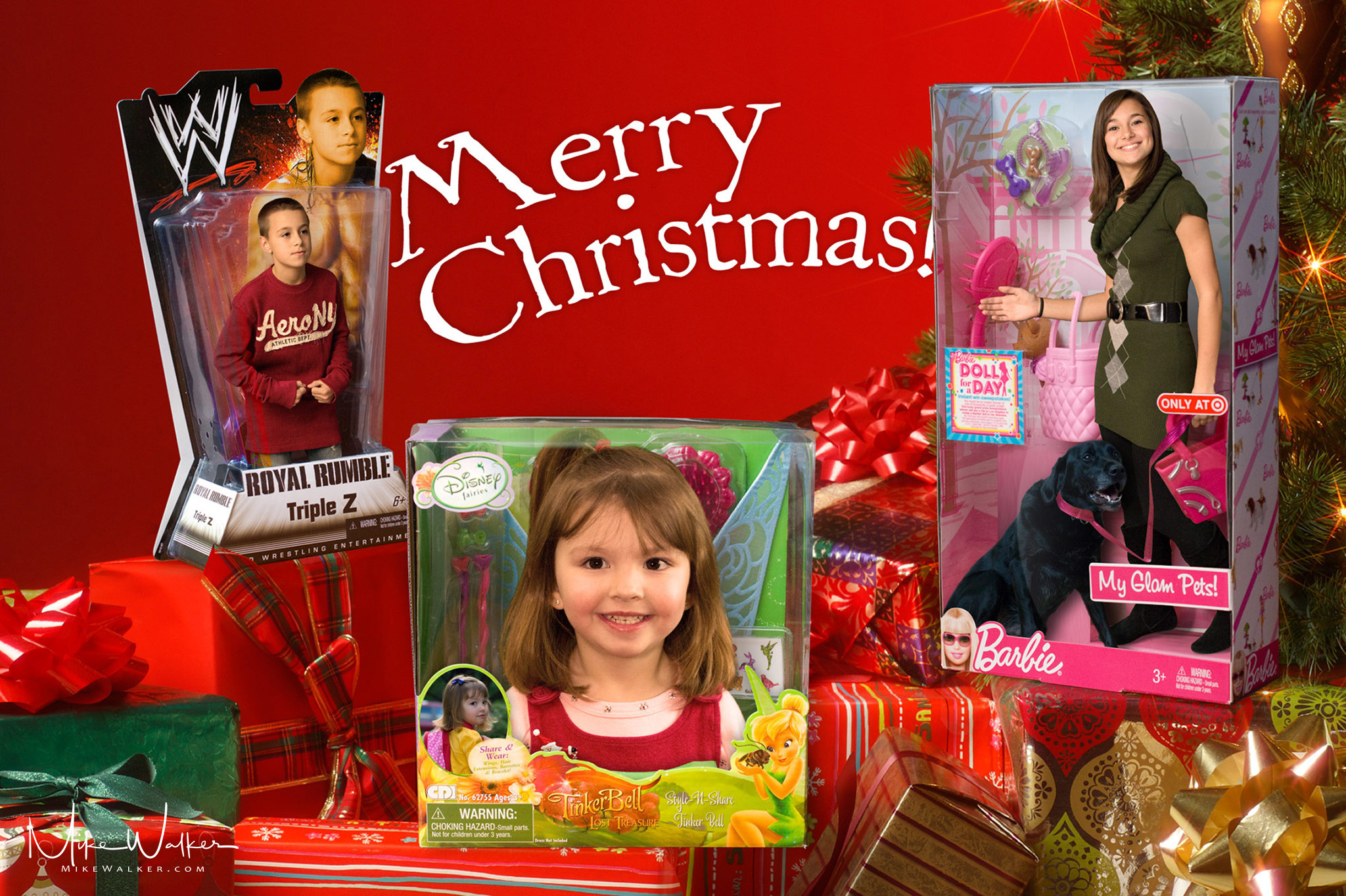 Composite image of children inside boxes of toys for a Christmas card. Family photography by Mike Walker.