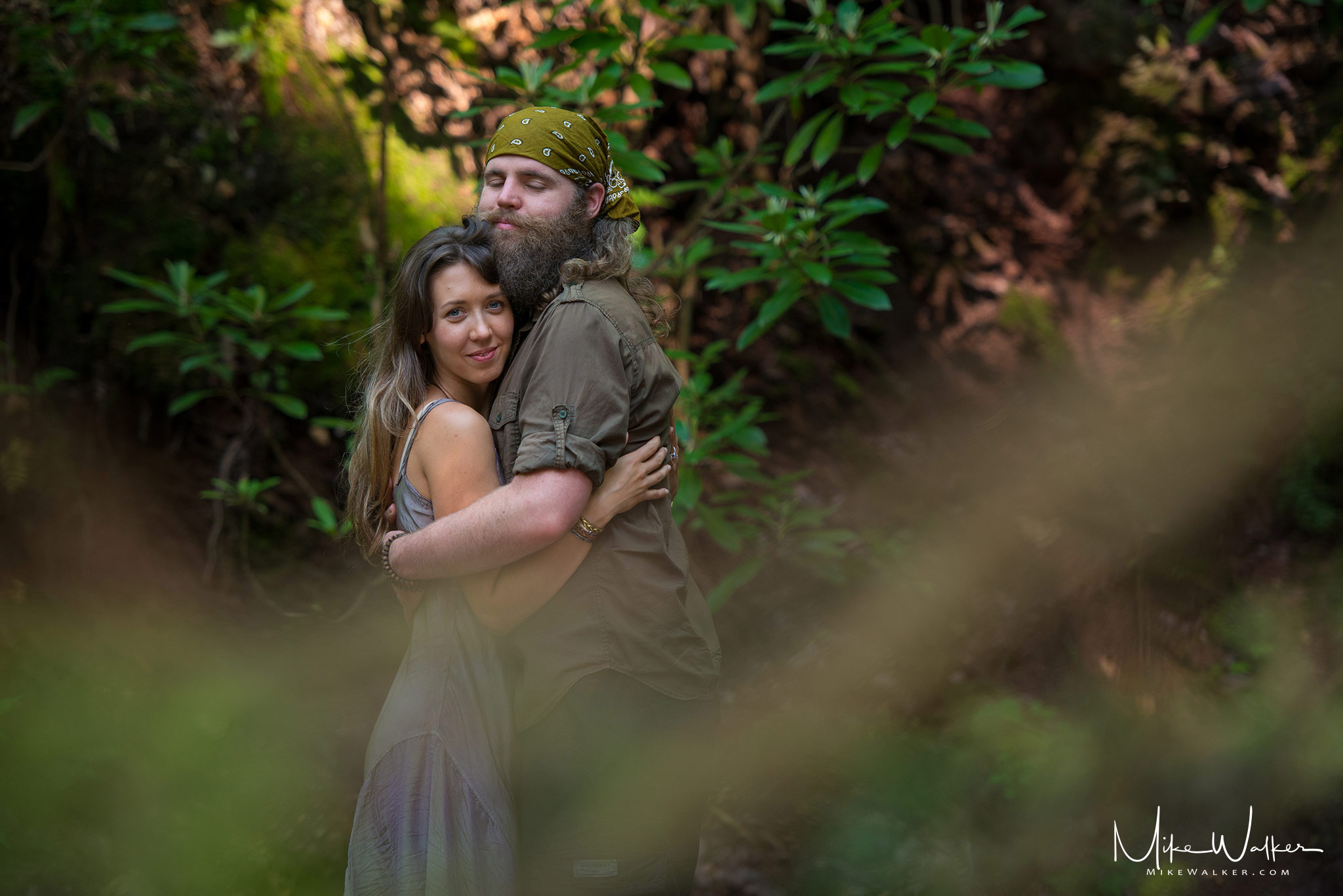 Engagement photos in the woods of NJ. Photography by Mike Walker.
