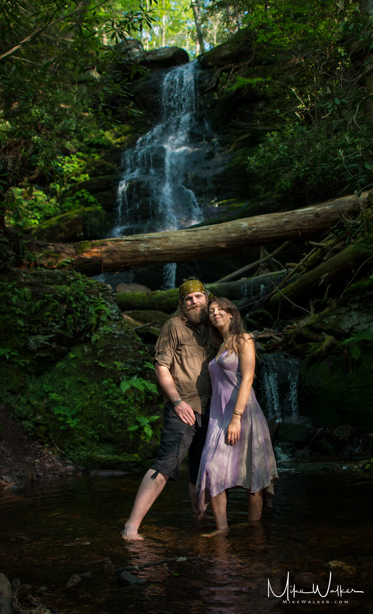 Engagement photos at Buttermilk Falls in NJ. Photography by Mike Walker.