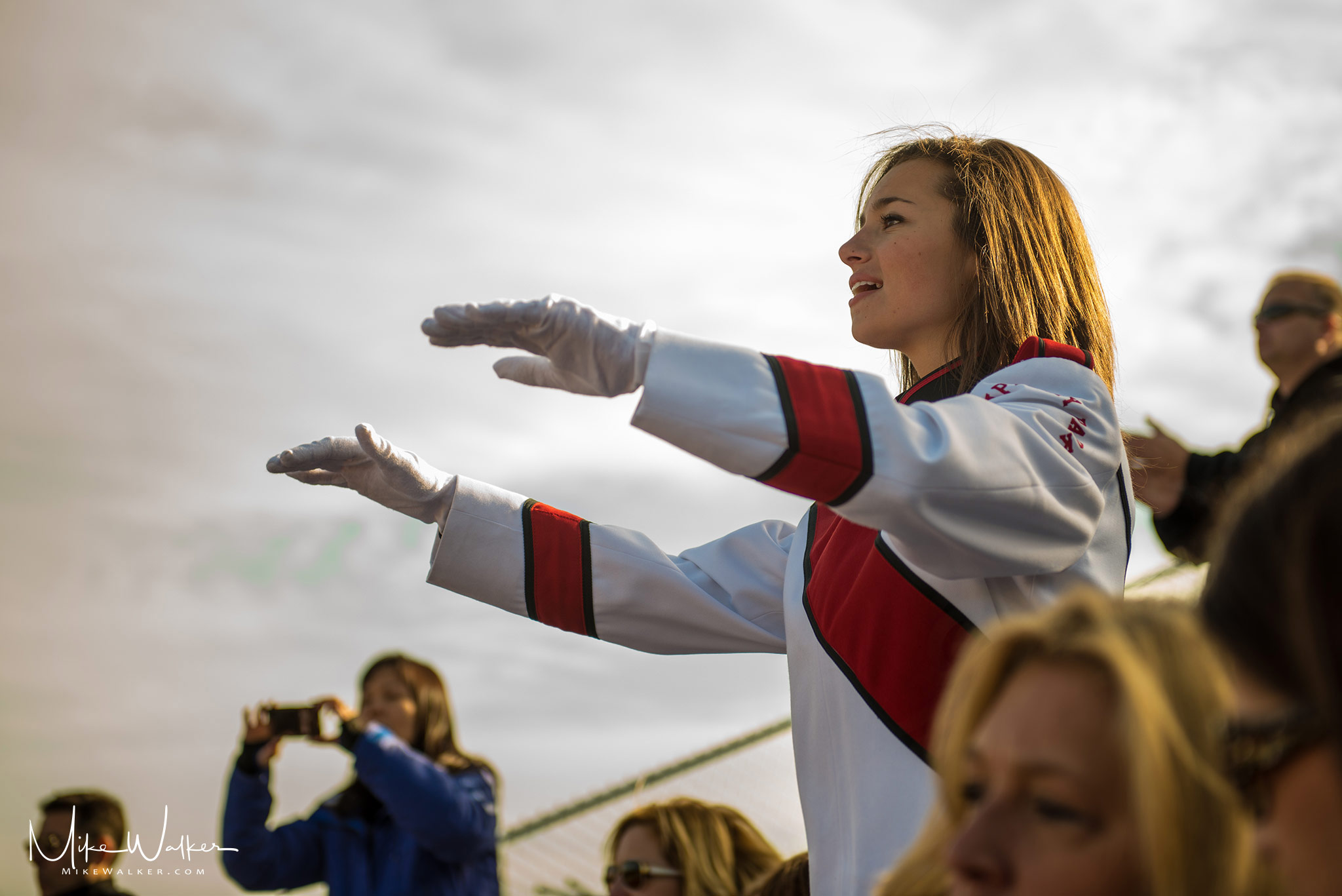 Drum major conducting a marching band in NJ. Photography by Mike Walker.