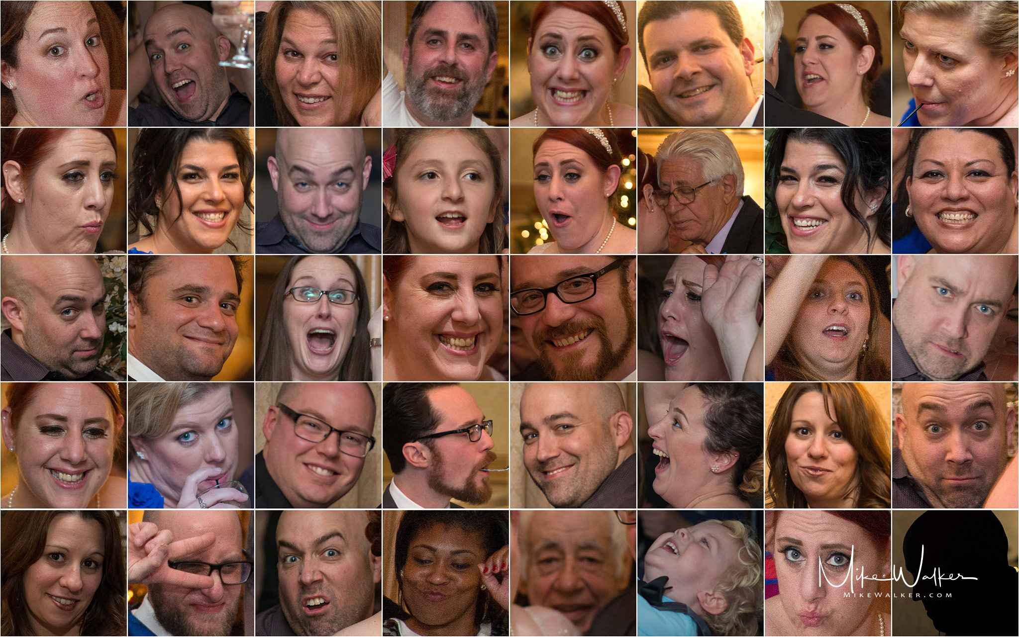 Comp of several faces from a wedding. Wedding photography by Mike Walker.
