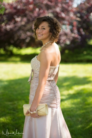 Young lady in a prom dress. Event photographer Mike Walker.