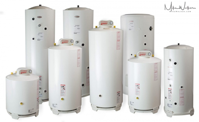 Family shot of hot water heaters. Commercial photography by Mike Walker.