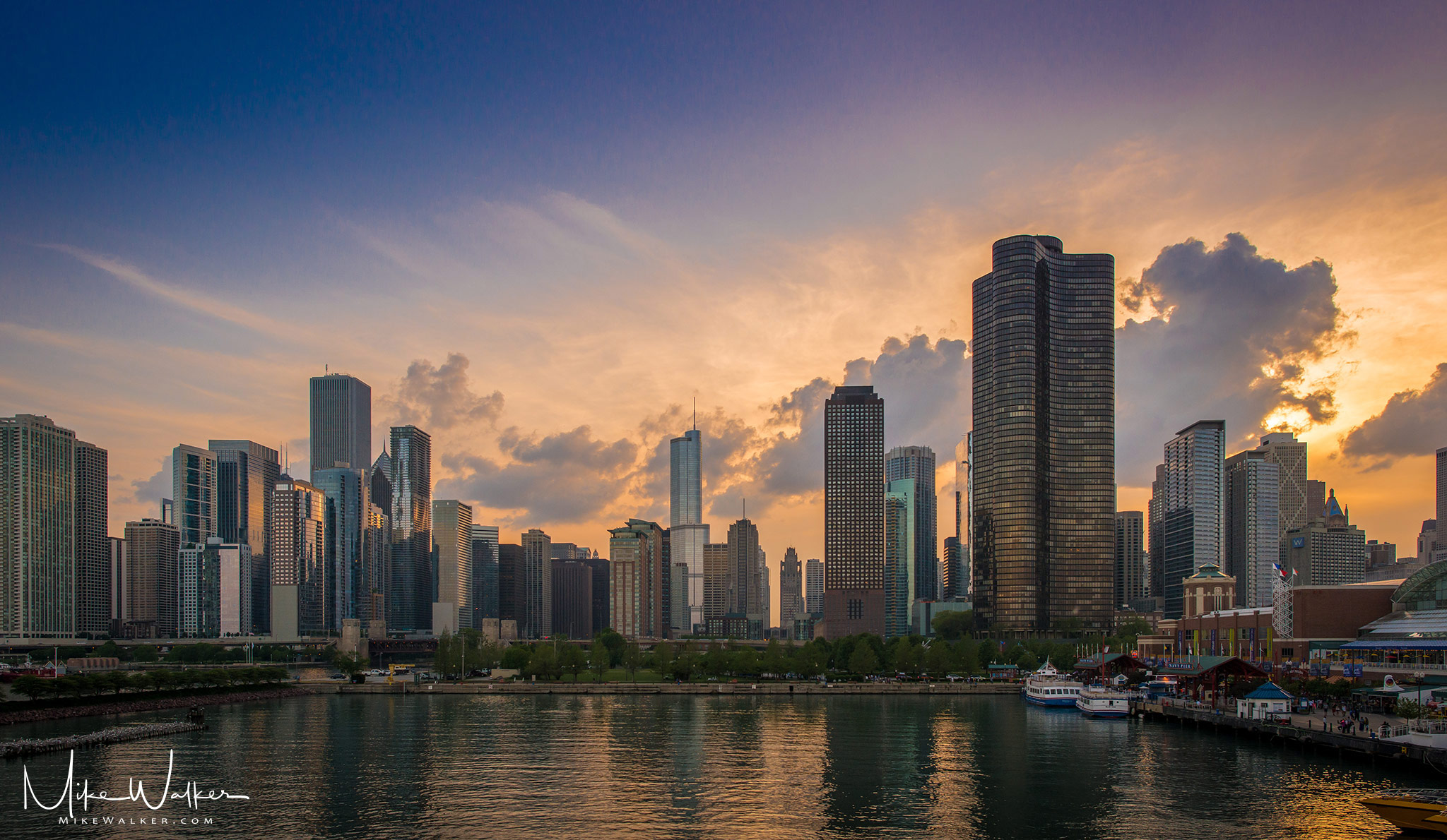 Downtown Chicago from Lake Michigan. Travel photography by Mike Walker.