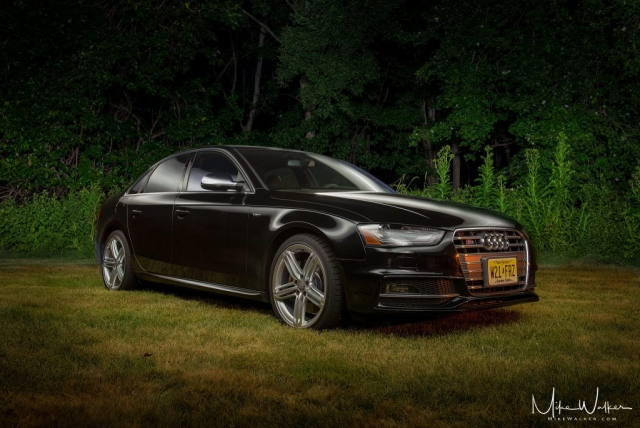Light-painted Audi S4 at night. Automotive photography by Mike Walker.