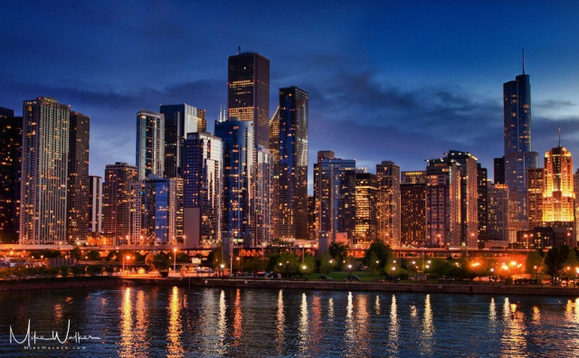Vibrant image of the Chicago skyline at dusk. Travel photography by Mike Walker.