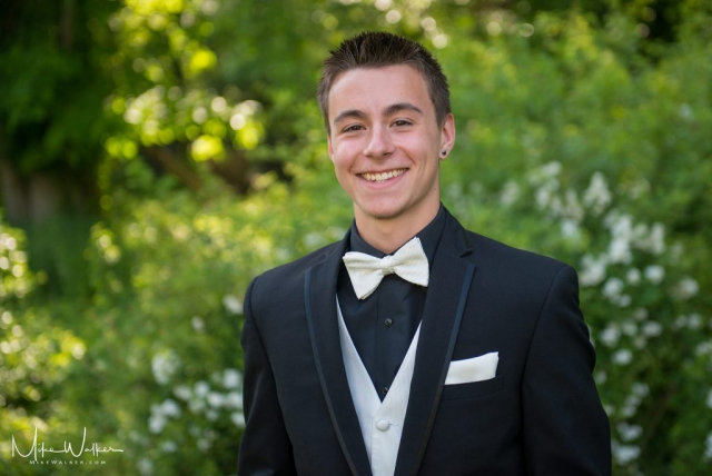 Young man in a tux ready for the prom. Event photography by Mike Walker.