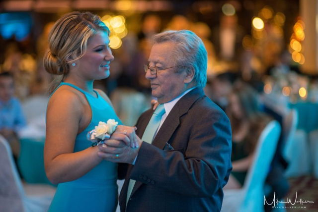 Dancing with grandpa at a sweet 16. Event photography by Mike Walker.